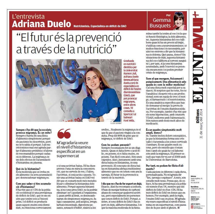 La entrevista Adriana Duelo, nutricionista El Punt Avui